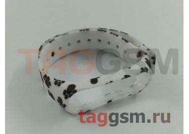 Браслет для Xiaomi Mi Band 3 / 4 (белый, с черными лапками)