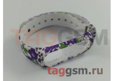 Браслет для Xiaomi Mi Band 3 / 4 (белый, с фиолетовыми цветами)