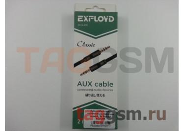 Аудио-кабель aux с силиконовым покрытием черный, 2м Exployd EX-K-635
