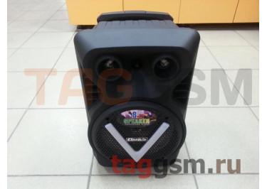 Колонка (OM-K18 ch) (USB+MicroSD+FM+LED+подстветка+микрофон+пульт) (черная)