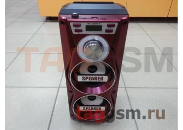 Колонка (MS-106BTch) (Bluetooth+USB+MicroSD+FM+LED+дисплей+подсветка) (красная)