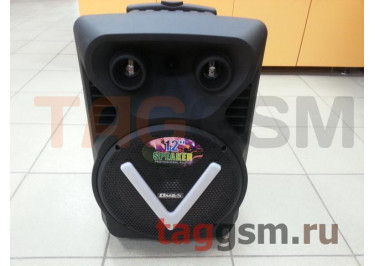 Колонка (OM-V12 ch) (USB+MicroSD+FM+LED+подстветка+микрофон+пульт) (черная)