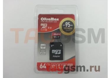 Micro SDXC 64Gb OltraMax Class 10 UHS-1 95Mb / s с адаптером SD