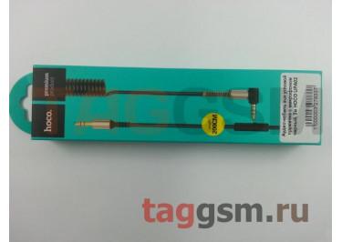 Аудио-кабель aux угловой пружинка с микрофоном черный, 2м HOCO UPA02