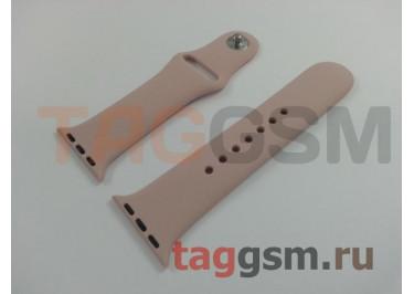 Ремешок для Apple Watch 38mm / 40mm (силикон, розовый песок), размер S / M