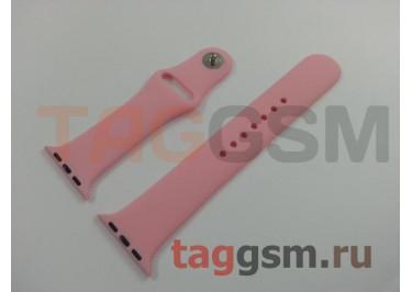 Ремешок для Apple Watch 38mm / 40mm (силикон, светло-розовый), размер M / L