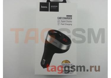 Разветвитель на 1 прикуриватель + 2 USB (черный) (Z29) HOCO