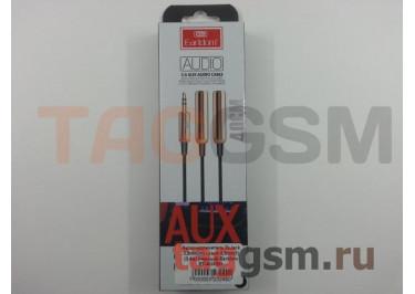 Аудио-удлинитель 2xJack 3,5mm(m) - Jack 3,5mm(f) (0,4м) (черный) Earldom ET-AUX201