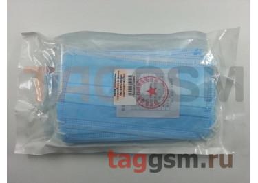 Маска одноразовая (трехслойная, на резинке, без фильтрующих компонентов) (20шт)