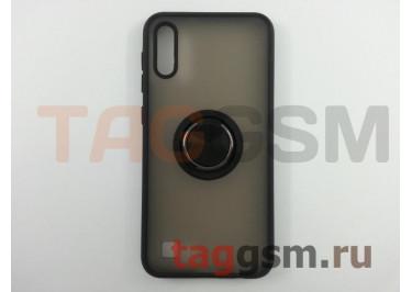 Задняя накладка для Samsung A10 / A105 Galaxy A10 (2019) (силикон, матовая, магнит, с держателем под палец, черная (Ring)) Faison