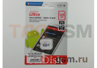 Micro SD 128Gb SanDisk Ultra Android Class 10 UHS-I 80Mb / s без адаптера SD