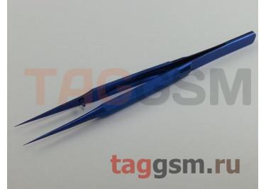 Пинцет прецизионный (титановый) (прямой) 14см, синий