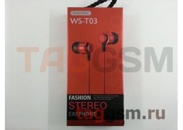 Наушники внутриканальные WS-T03 + микрофон (красные)
