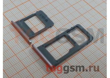 Держатель сим + держатель MicroSD карты для Samsung A520 / A720 Galaxy A5 / A7 (2017) (розовый)