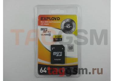 Micro SD 64Gb Exployd Class 10 UHS-1 45Mb / s с адаптером SD