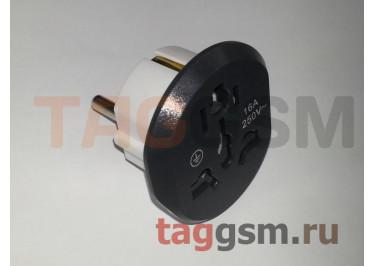 Сетевой переходник 16А (адаптер с английской и американской вилки на евророзетку), серый