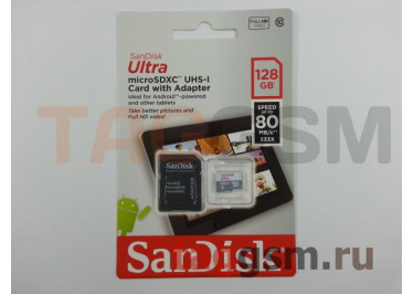 Micro SD 128Gb SanDisk Ultra Android Class 10 UHS-I 80Mb / s с адаптером SD