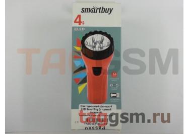 Светодиодный фонарь 4 LED SmartBuy (с прямой зарядкой, аккумуляторный, красный)