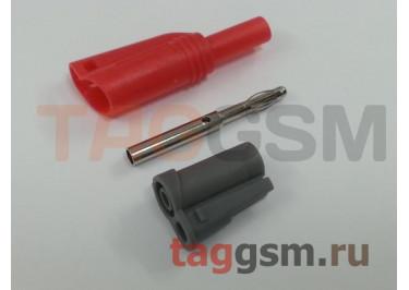 Штекер с гнездом на кабель Cleqee P3005 красный (штекер / гнездо 4мм, 1000В, 10А)