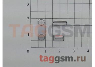 Кнопка (толкатель) для iPhone 5S (mute, on / off, volume) (серебро)