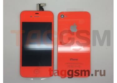 Дисплей для iPhone 4S + тачскрин + задняя крышка + кнопка Home (оранжевый)