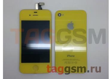 Дисплей для iPhone 4S + тачскрин + задняя крышка + кнопка Home (желтый)