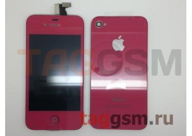 Дисплей для iPhone 4S + тачскрин + задняя крышка + кнопка Home (красный)