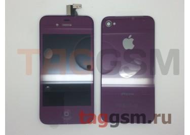Дисплей для iPhone 4S + тачскрин + задняя крышка + кнопка Home (фиолетовый)