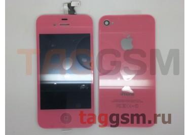 Дисплей для iPhone 4S + тачскрин + задняя крышка + кнопка Home (розовый)