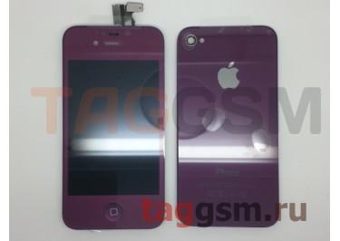 Дисплей для iPhone 4 + тачскрин + задняя крышка +кнопка Home (фиолетовый)