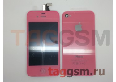 Дисплей для iPhone 4 + тачскрин + задняя крышка +кнопка Home (розовый)