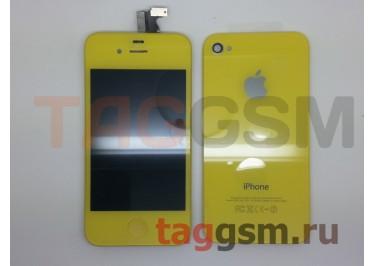 Дисплей для iPhone 4 + тачскрин + задняя крышка +кнопка Home (желтый)