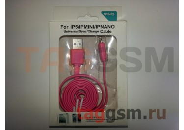 USB для iPhone 5 / iPad4 / iPad Mini / iPod Nano средний розовый в коробке