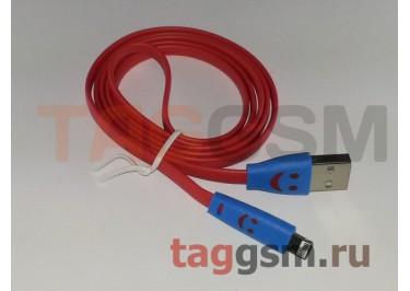 USB для iPhone 5 / iPad4 / iPad Mini / iPod Nano SMILE светящийся красный в блистере