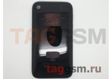 Задняя крышка для iPhone 3GS 16GB в сборе с хром.рамкой + разъем зарядки + разъем гарнит. (черный)