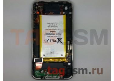 Задняя крышка для iPhone 3G 8GB в сборе с хром. рамкой + разъем зарядки + разъем гарн + АКБ (черный)