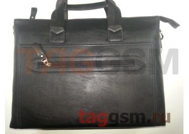 Сумка для ноутбука кожаная 39х28см (черная) 88007-1