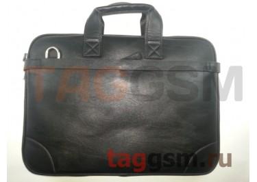 Сумка для ноутбука кожаная 39х29см (черная) 8388