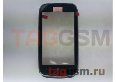 Тачскрин для Nokia 610 (черный) в сборе с передней панелью и динамиком, оригинал