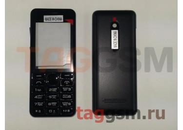 Корпус Nokia 206 со средней частью + клавиатура (черный)