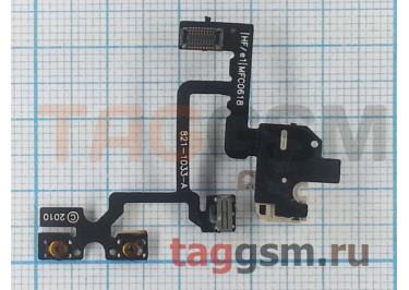 Шлейф для iPhone 4 + разъем гарнитуры (белый) ориг