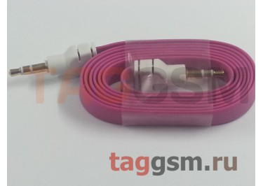 Аудио-кабель aux широкий малиновый