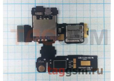 Шлейф для HTC One V + разъем сим / карты памяти