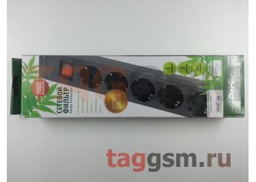 Сетевой фильтр Perfeo 5,0 м, 5 розеток, черный