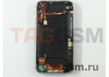 Задняя крышка для iPhone 3G 16GB в сборе с хром. рамкой + разъем зарядки + разъем гарнит. (черный)