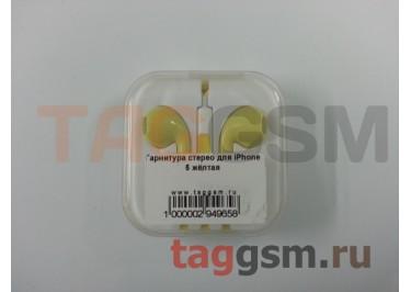 Гарнитура стерео для iPhone 5 желтая
