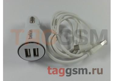 Автомобильное зарядное устройство micro USB + 2 USB 2100mAh в коробке Belkin, белый