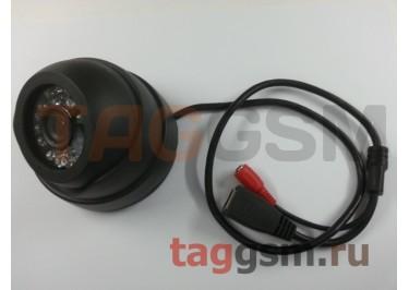 Видеокамера купольная 1920x1080p 2мп (3,6мм, черный пластик)