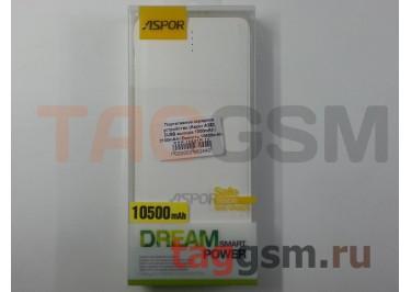 Портативное зарядное устройство (Power Bank) (Aspor A382, 2USB выхода 1000mAh  /  2100mAh с разъемом зарядки iPhone 5 / 6 / 7, micro USB) Емкость 10500mAh (белый)