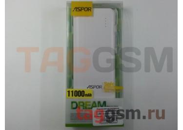 Портативное зарядное устройство (Power Bank) (Aspor A347, 2USB выхода 1000mAh  /  2100mAh) Емкость 11000mAh (бело-серое)